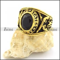 high quality Gold Plated 316L Stainless Steel Black Stone Ring - r000543