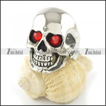 red stone eye skull ring r001552