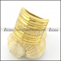 gold plated rings with many small clear rhinestones r001321