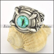 light green evil eye ring with 4 claws in stainless steel r001428
