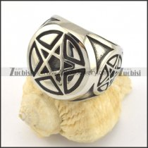 silver pentagram ring in stainless steel r001430