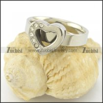Silver Stainless Steel Heart Ring with Rhinestones r001510