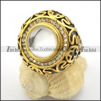 semi precious stone rings in gold plating with cat's eye r001724