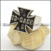 cross rings for men with black epoxy r001740