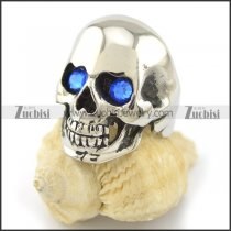 clear blue stone eye skull ring r001550