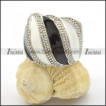 silver tone stainless steel ring epoxy black and white r001717