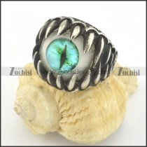 green evil eyeball ring with shaped tooth r001426