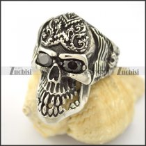 Black zircon eye stainless steel skull ring r001570