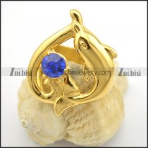 gold plating delphis ring with blue rhinestone r001711
