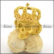 gold skull king ring with crown r001700