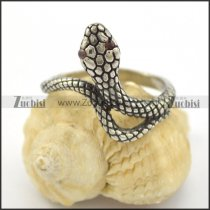serpent ring with 2 red rhinestone eyes r001673