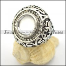 birth stone ring with big clear cat's eye stone r001723