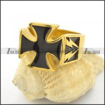 yellow gold finished flashing light cross ring r001576