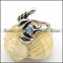 scorpion ring with small clear blue zircon r001736