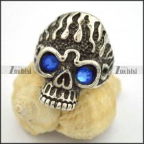 blue stone eye fire skull ring r001662