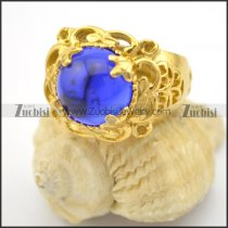blue opal stone ring in stainless steel with gold cover r001713