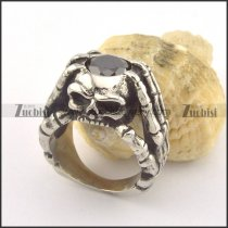 stainless steel skull ring with 1 big black faceted zircon r001354