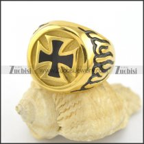 gold-plating fire cross biker ring r001579