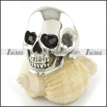 black stone eye skull ring r001551
