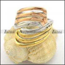3 tones stainless steel ring with gold silver and rose gold plating r001716