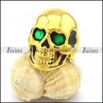 Skull Gold Ring in Stainless Steel with Green Stone Eyes r002010