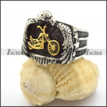 gold motorcycle rings in stainless steel eagle shaped r001982