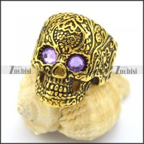 purple rhinestone eye gold flower skull ring r002007