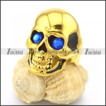 Skull Ring Gold Finishing with Blue Stone Eyes r002009