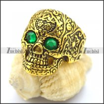 green rhinestone eye gold flower skull ring r002006