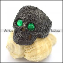 green eye black flower skull ring r002002