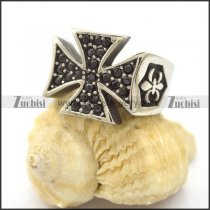 Black Rhinestone Cross Ring r001980