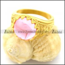 gold-plating flower ring with pink stone r002053