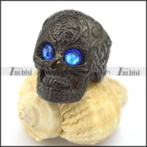 clear blue eye black flower skull ring r002001