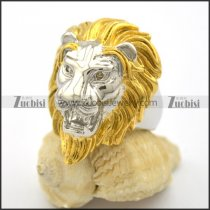 Lion Ring with Gold Plated Hair r001869