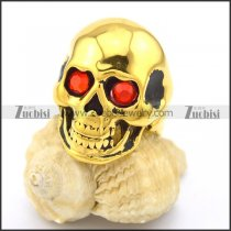 Gold Skull Rings in Stainless Steel with Red Rhinestones Eyes r002008