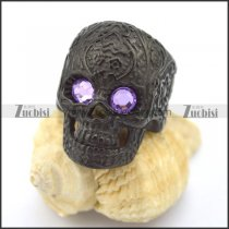 purple eye black flower skull ring r002003