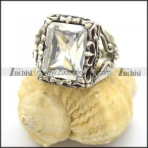big square clear zircon stone ring r002101