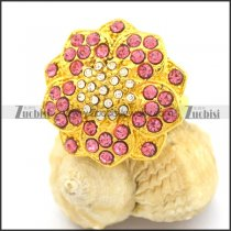 Gold-plating Clear Pink Engagement Rings in Big Flower Shaped r002366