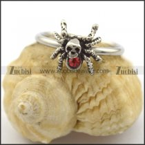 small spider ring with red rhinestone for women r002207