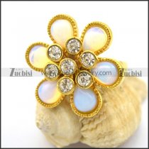 Gold Plating Flower Opal Rings with Clear CZ Core r002378
