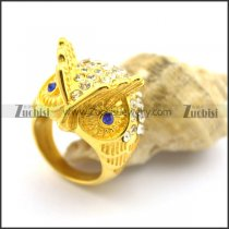 Yellow Gold Owl Ring with Rhinestones r002375
