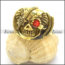 Antique Gold Stainless Steel Skull Ring with One Red Crystal Eye r002394