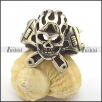 Spanner Fire Skull Ring for Biker r002344