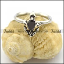 cute anchor ring with black diamond rhinestone r002225