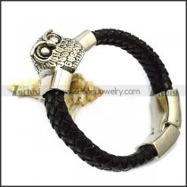 black braided leather bracelet with owl charm b007713
