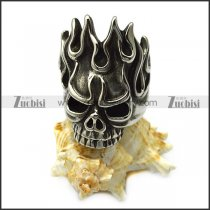 Big Flame Head Skull Stainless Steel Biker Skeleton Rings up to US Size 15 r005711