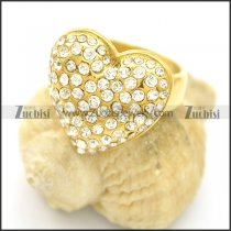 Yellow Gold Heart Ring with Rhinestones r002543