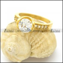 zircon ring in yellow gold plating for wedding r002541