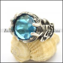 Clear Blue Stone Skull Engagement Ring r002706