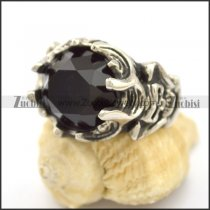 Skull Engagement Ring with Black Facted Stone r002707